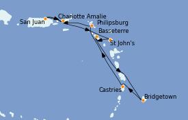 Itinéraire de la croisière Caraïbes de l'Est 8 jours à bord du Voyager of the Seas