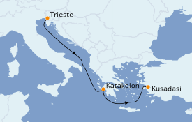 Itinéraire de la croisière Grèce & Adriatique 4 jours à bord du MSC Fantasia