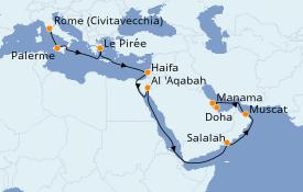 Itinéraire de la croisière Dubaï - Emirats 20 jours à bord du Costa Diadema