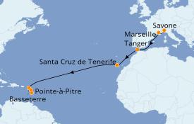 Itinéraire de la croisière Transatlantiques et Grands Voyages 2021 15 jours à bord du Costa Fascinosa
