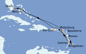 Itinerario de crucero Caribe del Este 12 días a bordo del Seven Seas Explorer
