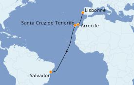 Itinéraire de la croisière Transatlantiques et Grands Voyages 2020 11 jours à bord du MSC Grandiosa