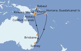 Itinéraire de la croisière Australie 2021 16 jours à bord du Sea Princess