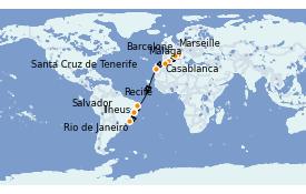 Itinéraire de la croisière Transatlantiques et Grands Voyages 2021 17 jours à bord du Costa Favolosa