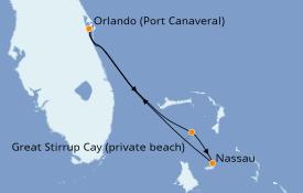 Itinéraire de la croisière Bahamas 4 jours à bord du Norwegian Sun