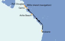 Itinéraire de la croisière Australie 2022 8 jours à bord du Coral Princess