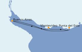Itinéraire de la croisière Amérique du Sud 5 jours à bord du Costa Pacifica