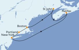 Itinéraire de la croisière Canada 8 jours à bord du MSC Divina