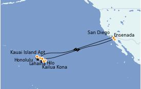 Itinerario de crucero Hawaii 18 días a bordo del ms Zuiderdam