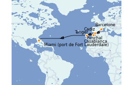 Itinéraire de la croisière Îles Canaries 16 jours à bord du ms Volendam