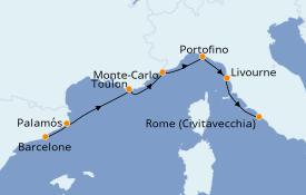 Itinéraire de la croisière Méditerranée 8 jours à bord du Azamara Pursuit