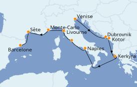 Itinéraire de la croisière Méditerranée 13 jours à bord du ms Westerdam
