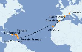 Itinéraire de la croisière Transatlantiques et Grands Voyages 2020 19 jours à bord du Costa Favolosa