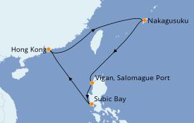 Itinéraire de la croisière Asie 8 jours à bord du Spectrum of the Seas