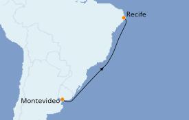 Itinéraire de la croisière Amérique du Sud 8 jours à bord du L'Austral