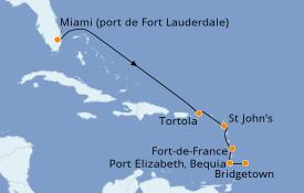 Itinéraire de la croisière Caraïbes de l'Est 8 jours à bord du Silver Moon