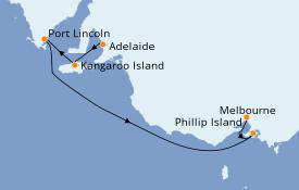 Itinéraire de la croisière Australie 2022 6 jours à bord du Sapphire Princess