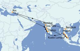 Itinéraire de la croisière Asie 15 jours à bord du MS Nautica
