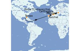 Itinéraire de la croisière Transatlantiques et Grands Voyages 2022 15 jours à bord du Brilliance of the Seas