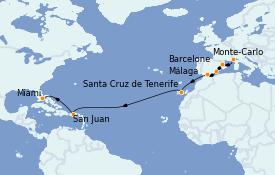 Itinéraire de la croisière Méditerranée 16 jours à bord du MS Marina