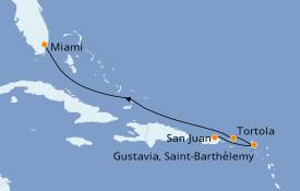 Itinéraire de la croisière Caraïbes de l'Est 6 jours à bord du Azamara Journey