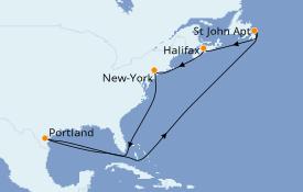 Itinéraire de la croisière Canada 7 jours à bord du Carnival Magic