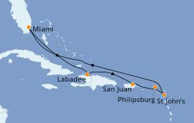 Itinéraire de la croisière Caraïbes de l'Est 9 jours à bord du Jewel of the Seas