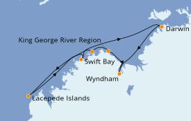 Itinéraire de la croisière Australie 2021 13 jours à bord du Le Lapérouse