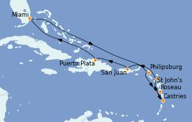 Itinéraire de la croisière Caraïbes de l'Est 11 jours à bord du Sirena