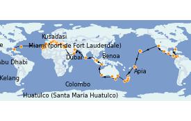 Itinéraire de la croisière Tour du Monde 2022 112 jours à bord du Island Princess
