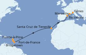 Itinéraire de la croisière Transatlantiques et Grands Voyages 2019 15 jours à bord du Costa Favolosa