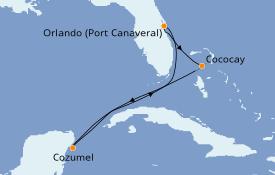 Itinéraire de la croisière Bahamas 6 jours à bord du Mariner of the Seas