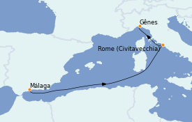 Itinéraire de la croisière Méditerranée 4 jours à bord du MSC Splendida