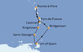 Itinéraire de la croisière Caraïbes de l'Est 8 jours à bord du MSC Seaview