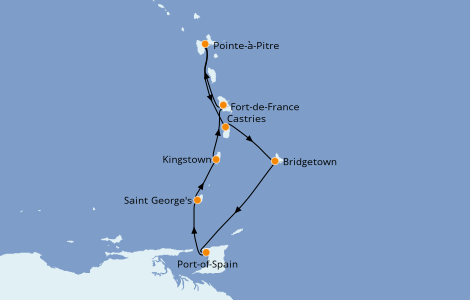 Itinéraire de la croisière Caraïbes de l'Est 7 jours à bord du MSC Seaview
