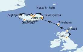 Itinéraire de la croisière Exploration polaire 12 jours à bord du Silver Whisper