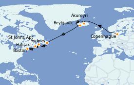 Itinéraire de la croisière Transatlantiques et Grands Voyages 2021 13 jours à bord du Jewel of the Seas