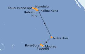 Itinéraire de la croisière Hawaii 15 jours à bord du Norwegian Jewel
