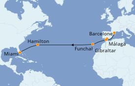 Itinéraire de la croisière Transatlantiques et Grands Voyages 2019 17 jours à bord du Azamara Journey
