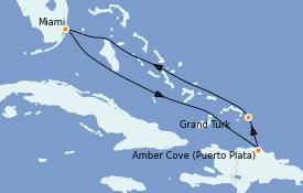 Itinéraire de la croisière Caraïbes de l'Est 6 jours à bord du