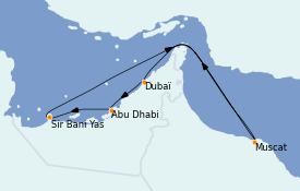 Itinéraire de la croisière Dubaï - Emirats 7 jours à bord du MSC Opera