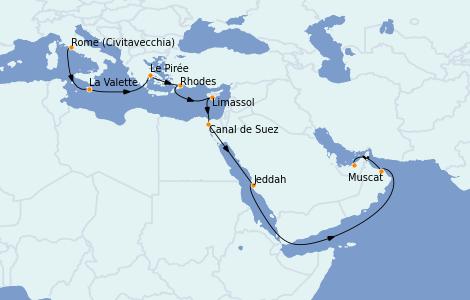 Itinéraire de la croisière Transatlantiques et Grands Voyages 2021 17 jours à bord du MSC Virtuosa