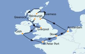 Itinéraire de la croisière Îles Britanniques 13 jours à bord du Jewel of the Seas