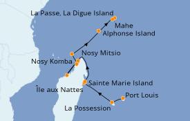 Itinéraire de la croisière Océan Indien 13 jours à bord du Le Jacques Cartier