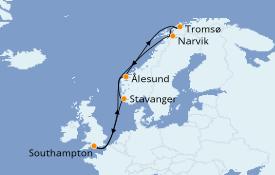 Itinéraire de la croisière Fjords & Norvège 13 jours à bord du Queen Victoria