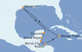 Itinéraire de la croisière Caraïbes de l'Ouest 10 jours à bord du Carnival Radiance