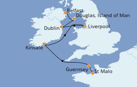 Itinéraire de la croisière Îles Britanniques 9 jours à bord du L'Austral