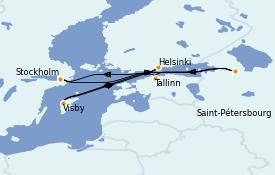 Itinéraire de la croisière Mer Baltique 8 jours à bord du Voyager of the Seas