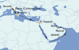 Itinéraire de la croisière Transatlantiques et Grands Voyages 2022 18 jours à bord du Costa Pacifica