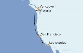 Itinéraire de la croisière Californie 6 jours à bord du Star Princess
